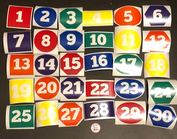 Student Desk Number decals | group students by number, shape or color | set of 28 number decals