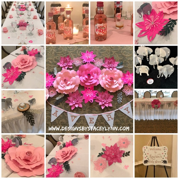 Baby Shower Decoration Package | Paper Flowers | Baby Elephants | Name Banner | Bottle Labels | Confetti | Welcome Sign