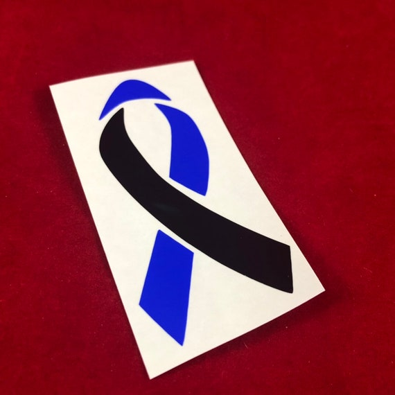 THIN BLUE LINE Awareness Ribbon decal | Police Officer/ Cop/ First Responder? Black & Blue ribbon