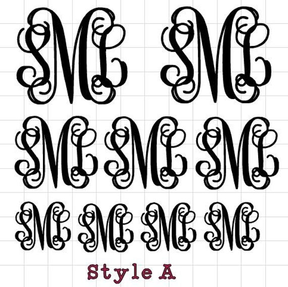 BULK Monogram Decals, Set of 9 assorted sizes, Choice of color