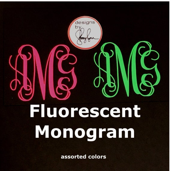 FLUORESCENT MONOGRAM   Choose size & color   Sticker for Yeti cups, tumblers, mugs, water bottles, cars, laptops and devices