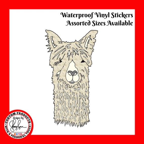 LLAMA STICKER- Waterproof, tear-resistant, vinyl decal available in assorted sizes or full sheets