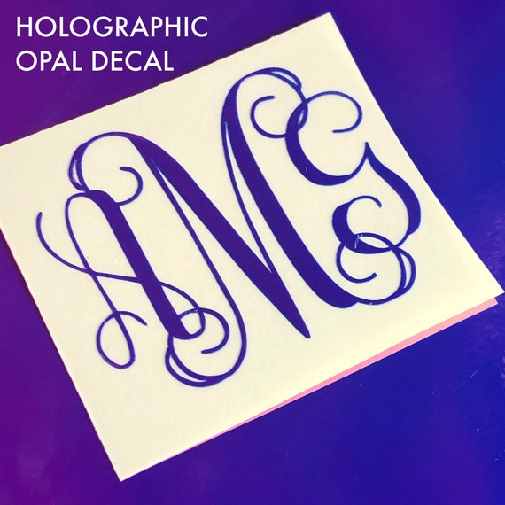Holographic Opal Monogram Decal | FREE Shipping | Mongram Decal | Glitter Decal | Laptop Decal | Tumbler Decal | Monogram Sticker