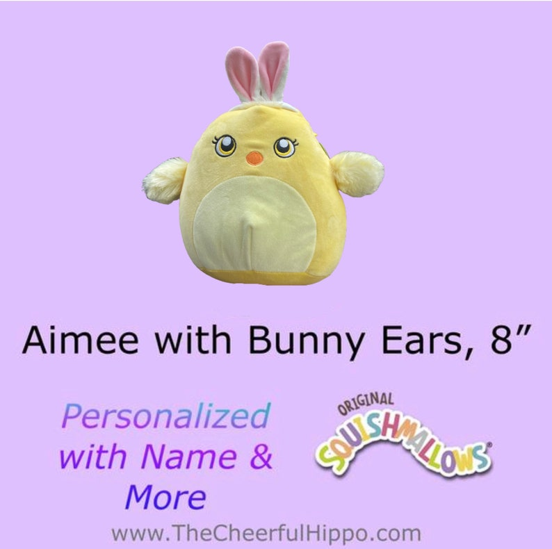 CUSTOM SQUISHMALLOW 7-8 inch Aimee the Chick with Bunny Ears image 0