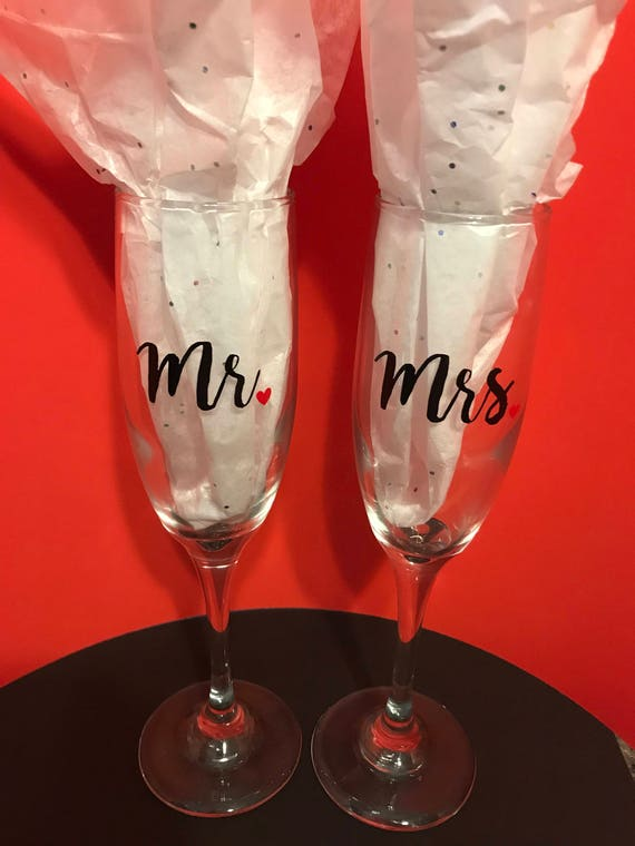 Mr. and Mrs. Glasses or candle holders, His and Hers gift, bridal couple