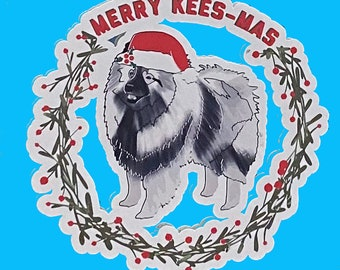 Keeshond, Merry Kees-Mas Static Window Cling, removable, repositionable white vinyl