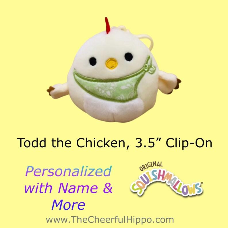 CUSTOM SQUISHMALLOW 3.5 inch clip on-Todd the Chicken-add image 0