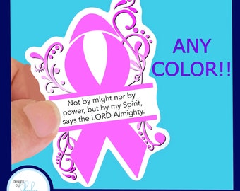 ANY COLOR Awareness Ribbon Waterproof Sticker - Use for Hydroflask, Water bottle, Laptop, Car Window, Laminated & Choice of Size
