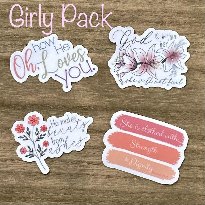 Oh How He Loves You Feminine Sticker Pack Christian Faith image 0