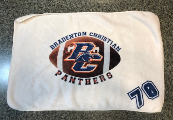 "Bradenton Christian School 16"" x 24"" Football towel, super soft and absorbent athletic towel"