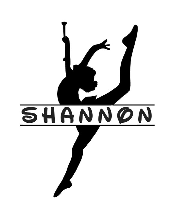 Personalized Baton TWIRLER DECAL with  name, majorette, feature twirler; choice of size and color