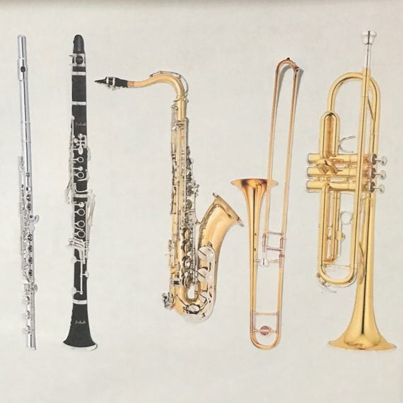 "MUSICAL INSTRUMENT STICKERS | 6"" x 9"" sheet | alto/ bari saxophone, clarinet, flute, trombone, trumpet, violin, viola, cello, bass & more"