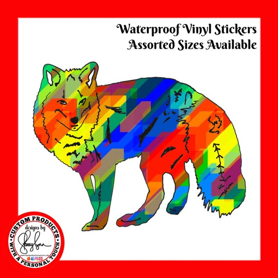 FOX STICKER- Waterproof, tear-resistant, vinyl decal available in assorted sizes or full sheets