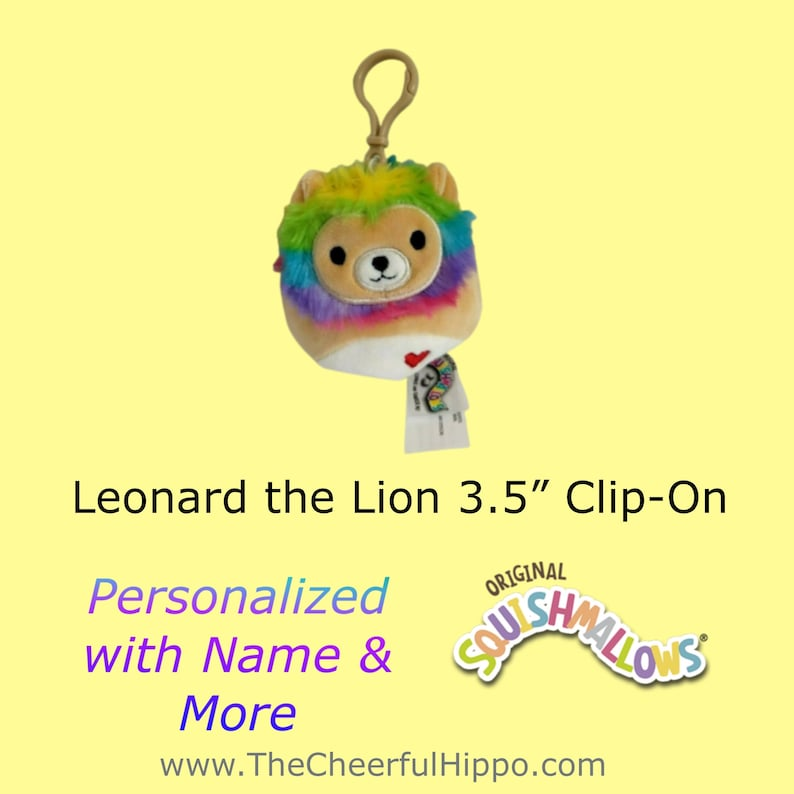 CUSTOM SQUISHMALLOW 3.5 inch clip on-Leonard the Lion-add image 0