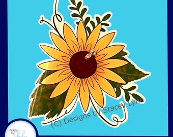 Sunflower with Bee - Fall Window Window Cling, removable, repositionable white vinyl