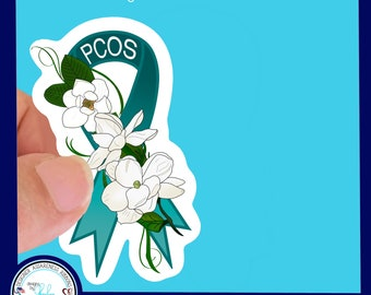 Polycystic Ovarian Syndrome, POCS, Awareness Ribbon Waterproof Sticker - Use for Hydroflask, Water bottle, Laptop, Car Window