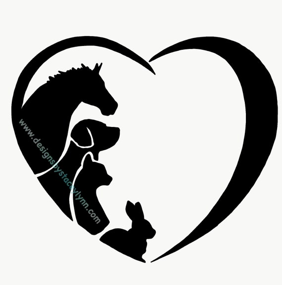 LOVE DECAL with horse, dog, cat, rabbit; waterproof sticker available in assorted sizes and colors