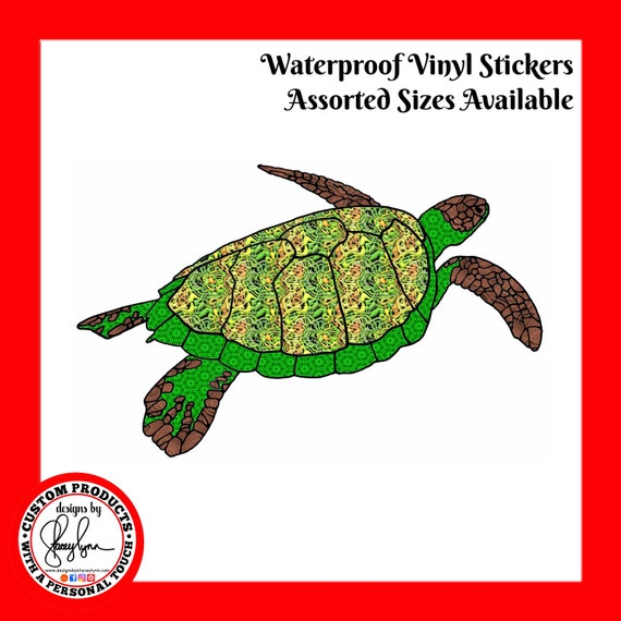 TURTLE STICKER- Waterproof, tear-resistant, vinyl decal available in assorted sizes or full sheets