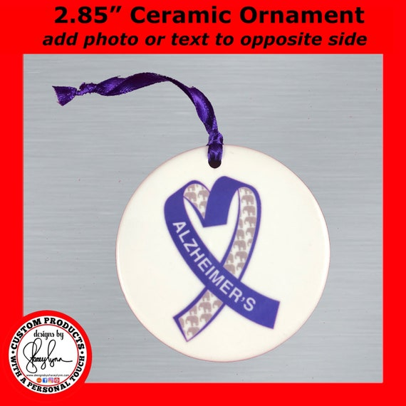 """Ceramic Alzheimer's Awareness Photo Ornament, 2.85"""" - Personalize reverse side with photo or text"""