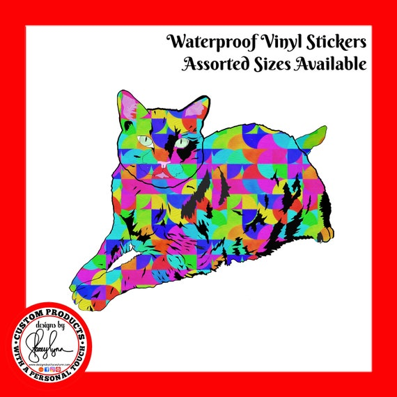 CAT STICKER- Waterproof, tear-resistant, vinyl decal available in assorted sizes or full sheets