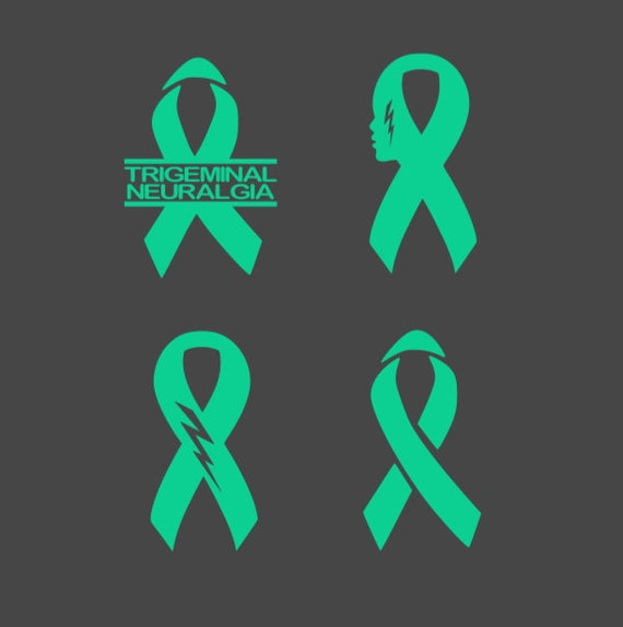 Trigeminal Neuralgia Awareness Ribbon iron-on; Prevention applique, In memory of, Teal (Jade) ribbon