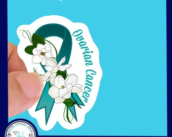 Ovarian Cancer Teal Awareness Ribbon Waterproof Sticker - Use for Hydroflask, Water bottle, Laptop, Car Window, Laminated & Choice of Size