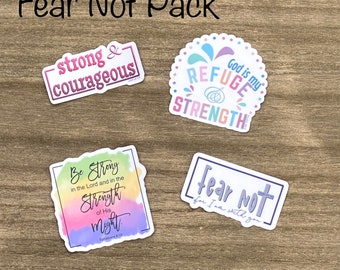 Fear Not Sticker Pack- Christian Faith FOUR 2.5 inch Waterproof Stickers - Use for cars, water bottles, laptops and more!