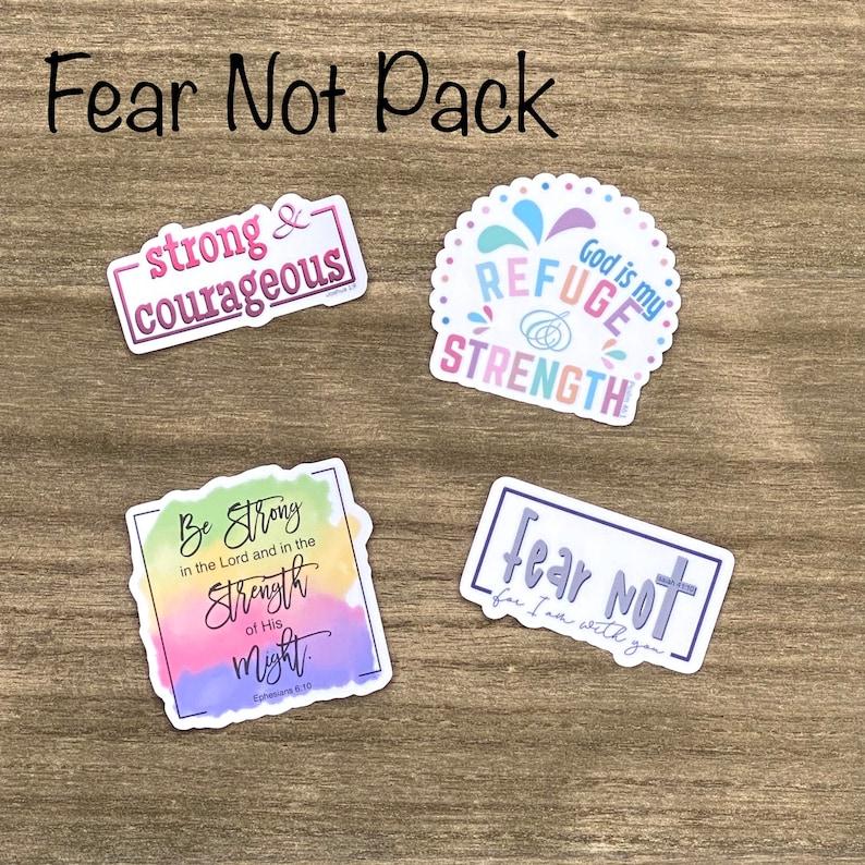 Fear Not Sticker Pack Christian Faith FOUR 2.5 inch image 0