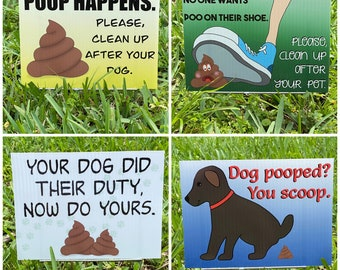 Dog Clean Up Signs - choose design and size