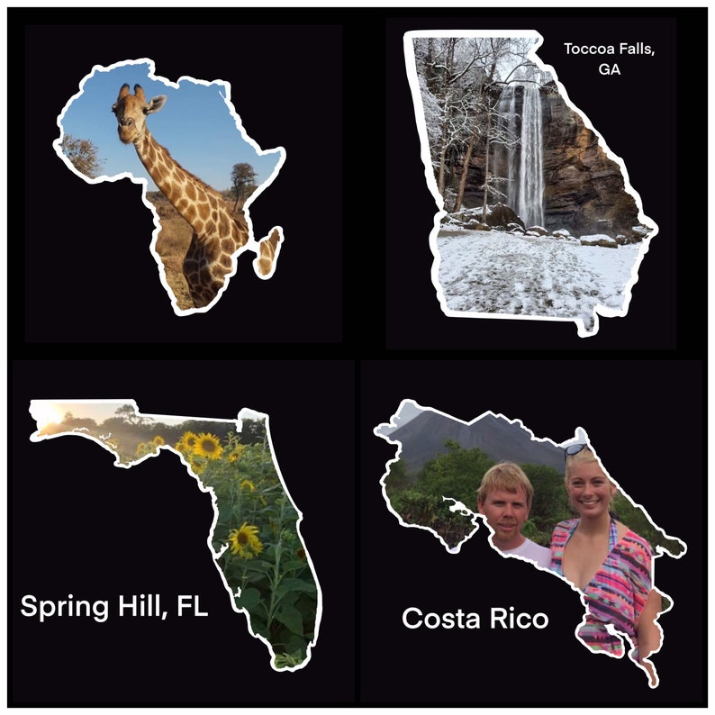 WATERPROOF PHOTO STICKER shaped as state or country  Stickers image 0
