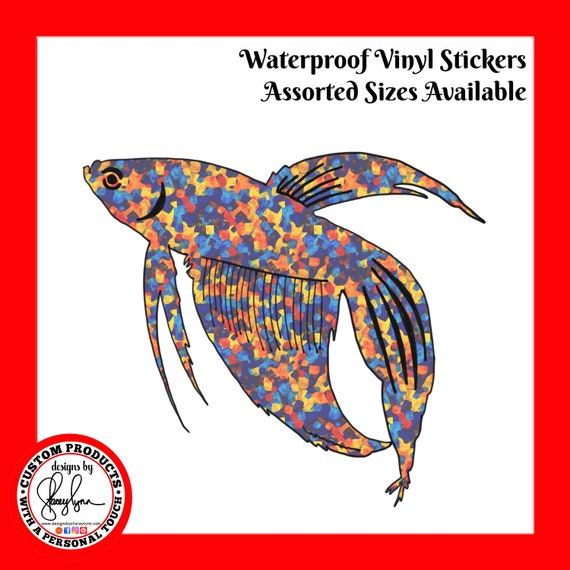 BETA FISH STICKER- Waterproof, tear-resistant, vinyl decal available in assorted sizes or full sheets