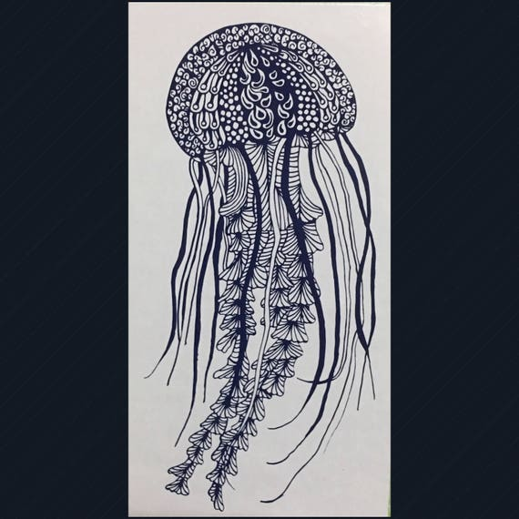 JELLYFISH DECAL with extreme detail   Use for glass doors, car windows and other smooth surfaces   FREE Shipping