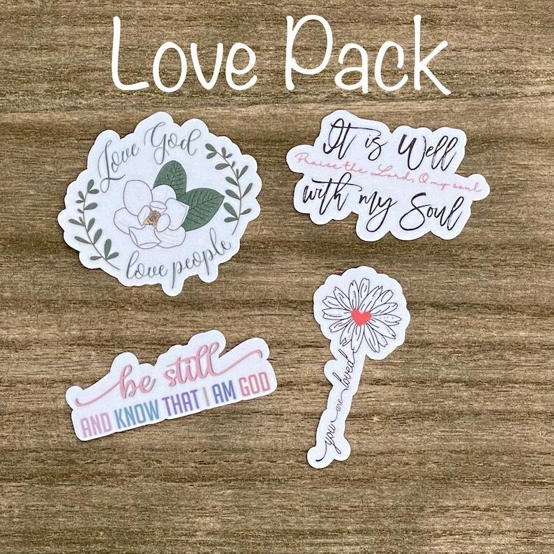 Love God Love People Sticker Pack Christian Faith FOUR 2.5 image 0