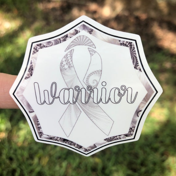 Warrior white ribbon Sticker- Waterproof, tear-resistant, vinyl decal available in assorted sizes or full sheets