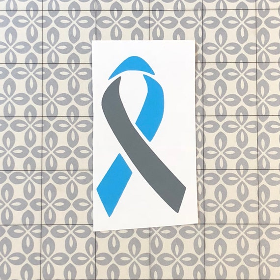Diabetes awareness ribbon; Grey and Light Blue Decal, Type 1, Type 2