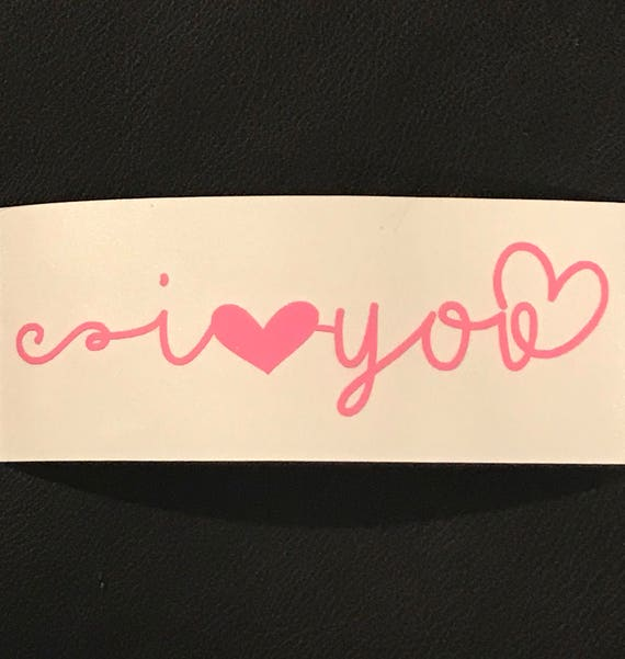 I LOVE YOU Decal; waterproof sticker available in assorted sizes and colors