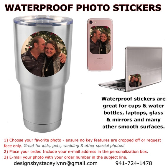 Waterproof Photo Sticker- Pet, Portrait, Kids, Family, company logo | Assorted shapes & sizes available