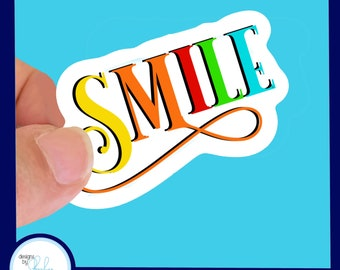 """SMILE  Colorful - Waterproof  Glossy Sticker, 3"""""""