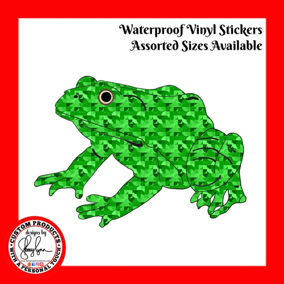 FROG STICKER- Waterproof, tear-resistant, vinyl decal available in assorted sizes or full sheets