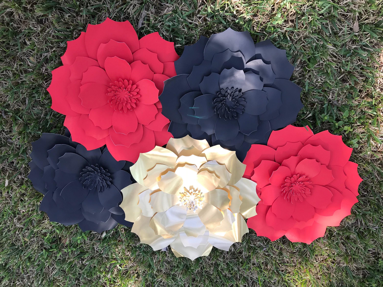 Paper Flowers Set Of 5 Table Decor Paper Flower Wedding Decor