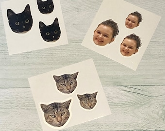 FACE STICKERS, WATERPROOF - Die-Cut Sticker, Choice of Size, Laminated Glossy or Matte