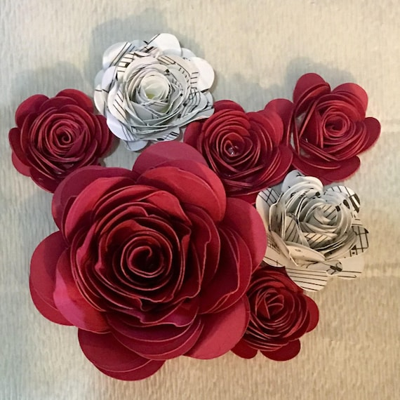 Paper Roses, Hand-Rolled, assorted sizes and colors
