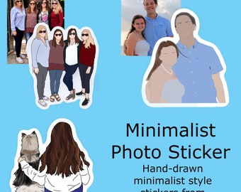 Custom Photo Sticker | Faceless Sticker | Hand Drawn | Minimalist Style | Trendy photo sticker
