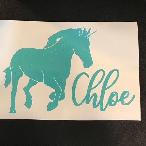 GLITTER Unicorn decal with NAME decal   car decal   device, laptop or Mac decal   FREE shipping