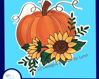 Pumpkin and Sunflowers - Fall Window Window Cling, removable, repositionable white vinyl