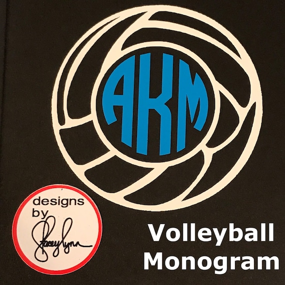 VOLLEYBALL MONOGRAM decal | Choose size & color | Use stickers for Yeti cups, tumblers, mugs, water bottles, cars, laptops and devices