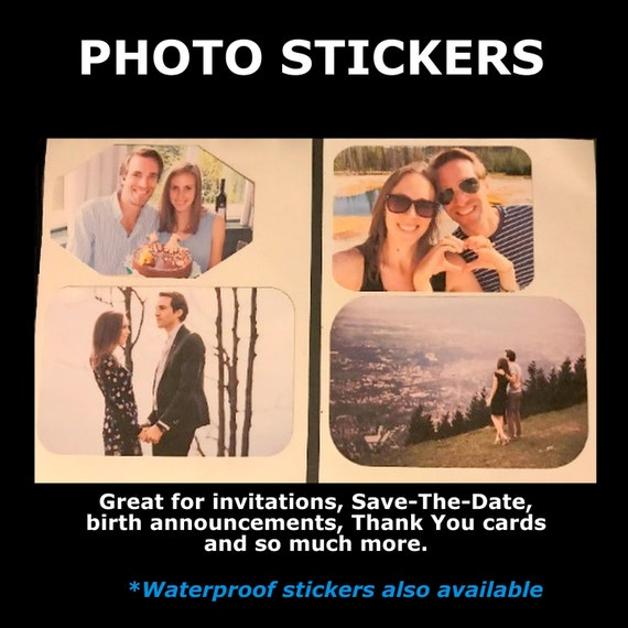 Photo Stickers_Set of 4 |Engagement photo stickers | Wedding photo stickers | Anniversary photo stickers | Baby stickers | FREE SHIPPING