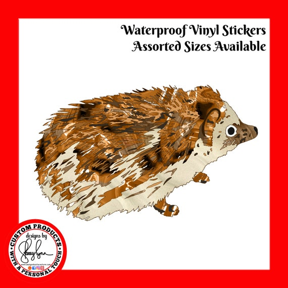 HEDGEHOG STICKER- Waterproof, tear-resistant, vinyl decal available in assorted sizes or full sheets