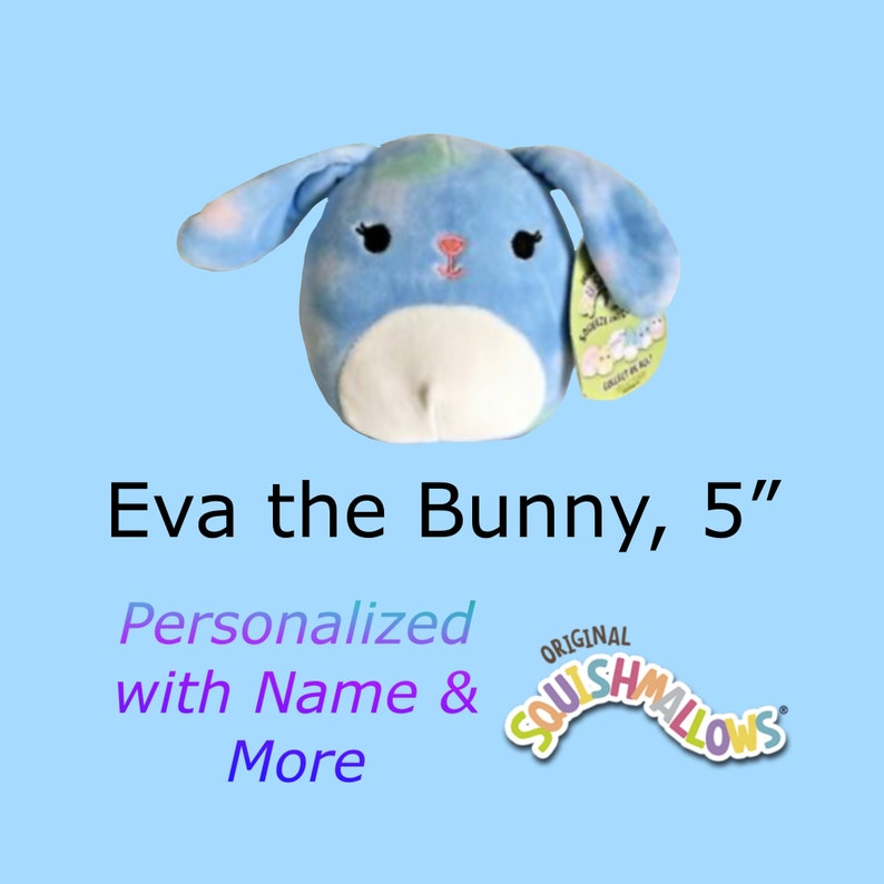 CUSTOM SQUISHMALLOW Eva the Blue Tie Dye Bunny 5 inch  with image 0