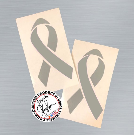 GREY AWARENESS Ribbon decal | Brain Tumor or Cancer Ribbon | PTSD, Terrorism | Parkinson's Disease | Asthma | Grey ribbon